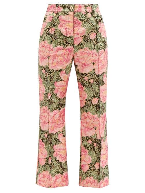 Paco Rabanne - Peony-print Swirl-jacquard Cropped Trousers - Womens - Pink Print