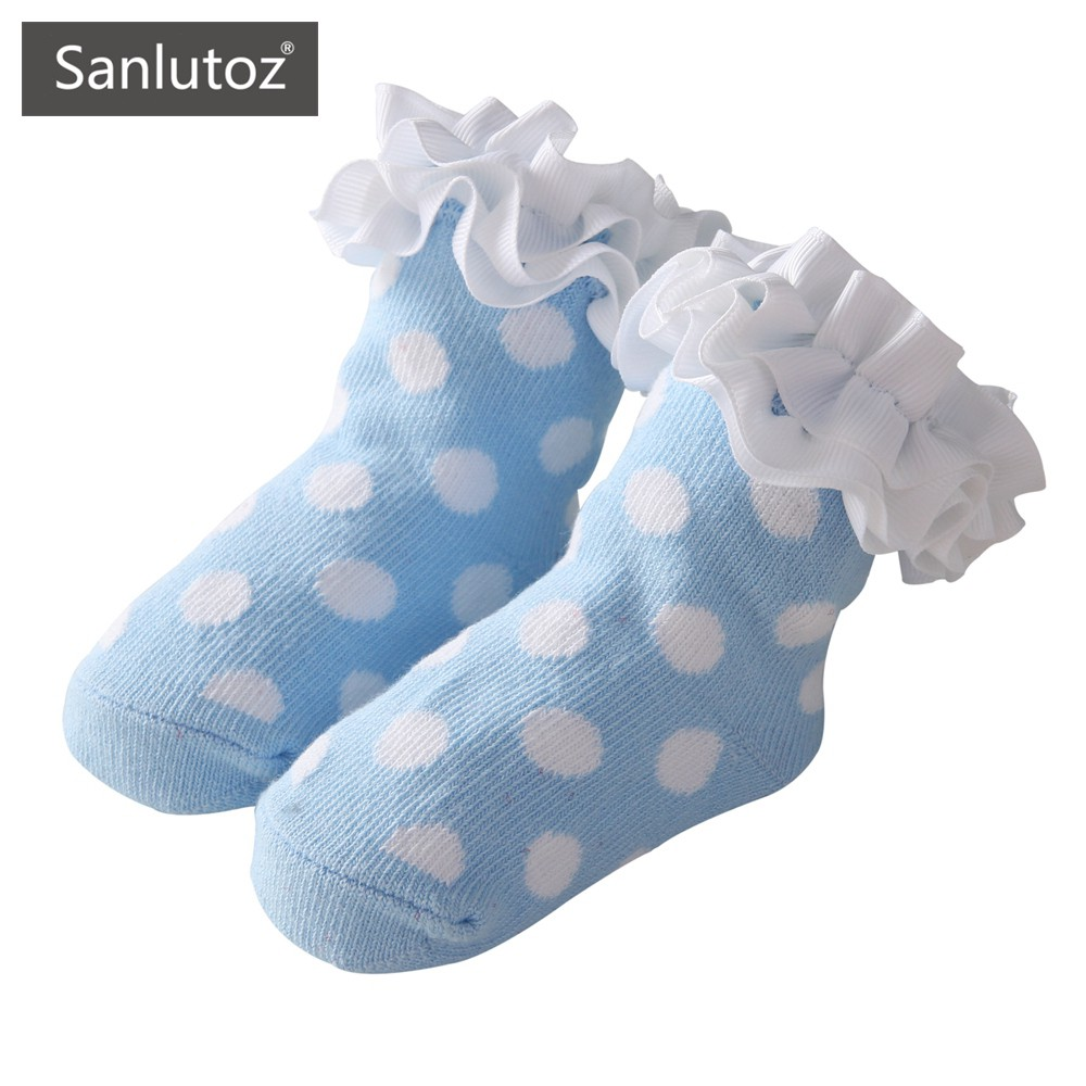 Sanlutoz 波點可愛新生兒襪子 時尚女童花邊襪 寶寶地板襪