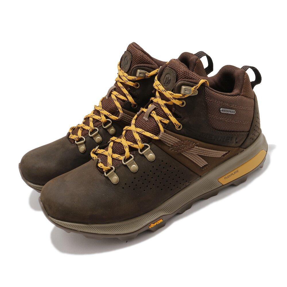 MERRELL 戶外鞋 ZionPeak Waterproof 男鞋 登山 越野 耐磨 黃金大底 中筒 避震 棕 黃 [ML035363]