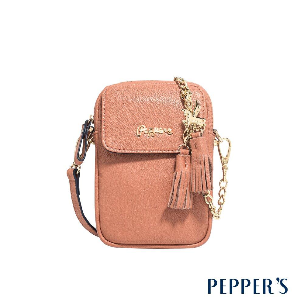 PEPPER'S Ellie 羊皮掀蓋隨身包 - 奶茶棕