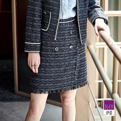 ILEY伊蕾 經典小香風雙排釦短裙(藍)