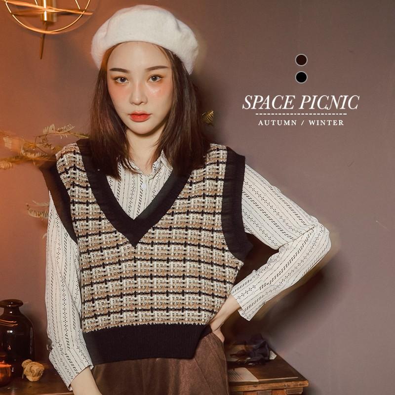 Space Picnic 交織格紋針織短版背心(現+預)【C20102042】
