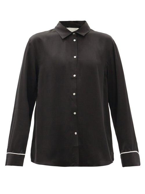 Asceno - London Silk Pyjama Top - Womens - Black