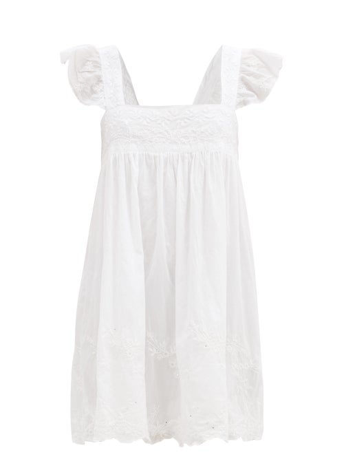Juliet Dunn - Hand-embroidered Cotton-voile Mini Dress - Womens - White