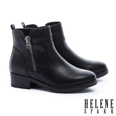 短靴 HELENE SPARK 個性百搭拉練造型皮革粗高跟短靴-黑