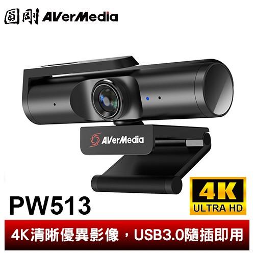 圓剛 PW513 極致4K MIT製造 UHD網路攝影機 遠端視訊/雙麥克風收音 360度旋轉支架【圓剛】