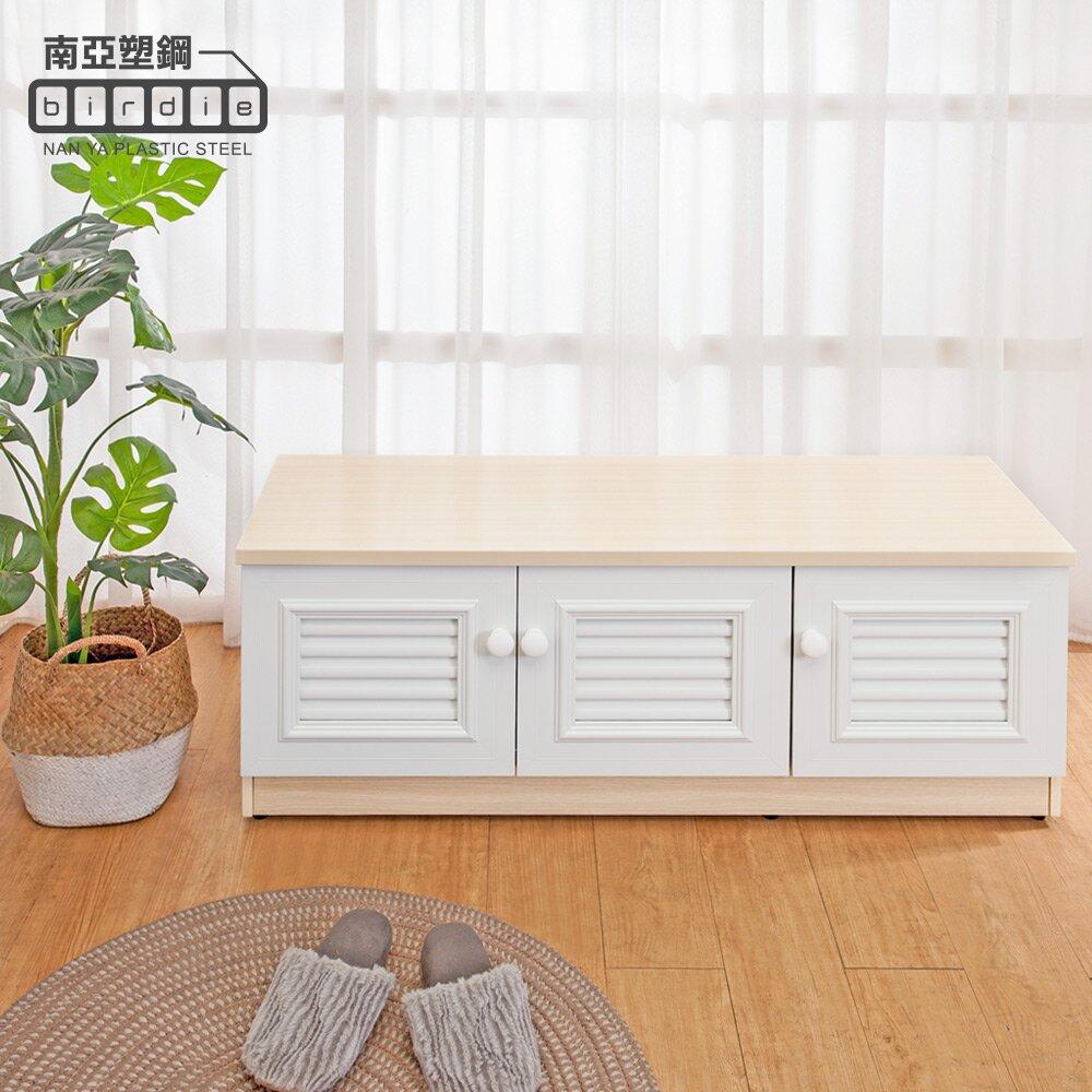 Birdie南亞塑鋼-4尺三開門防水塑鋼坐式百葉鞋櫃/座鞋櫃/收納穿鞋椅(白橡色+白色)
