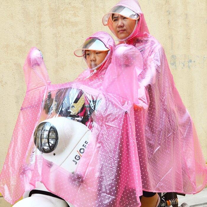 母子雨衣機車車兒童電動車加大加厚父子雨披雙帽檐(7-10天送達,尺寸大於35cm請選用宅配)