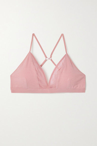 Skin - 【net Sustain】germaine 网布边饰弹力有机比马棉质平纹布软杯文胸 - 肉粉色 - x small