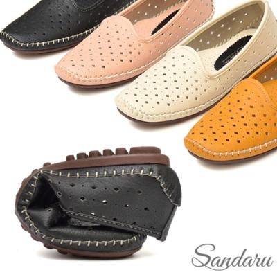 山打努SANDARU-柔軟洞洞懶人豆豆鞋-黑