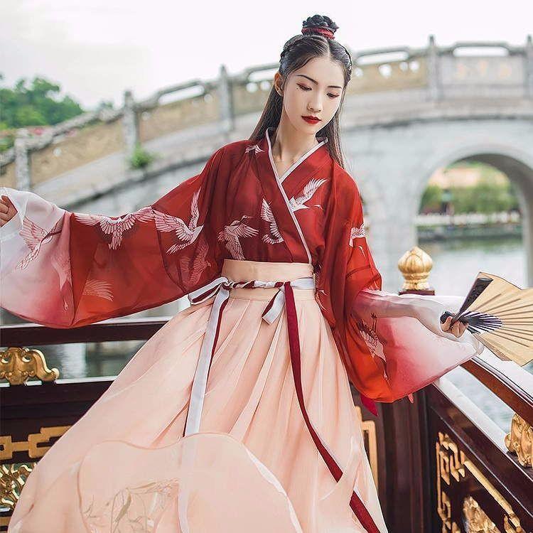 新款一點春漢服女齊腰襦裙交領仙鶴直袖漸變超仙女裙學生日常古裝套裝