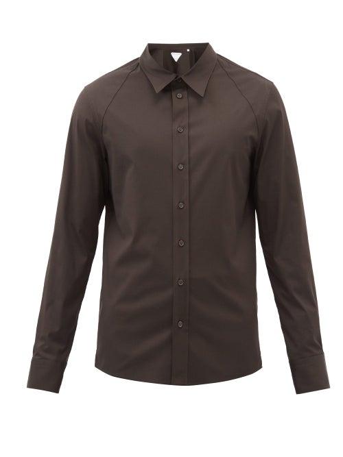 Bottega Veneta - Cotton-blend Stretch-poplin Shirt - Mens - Brown