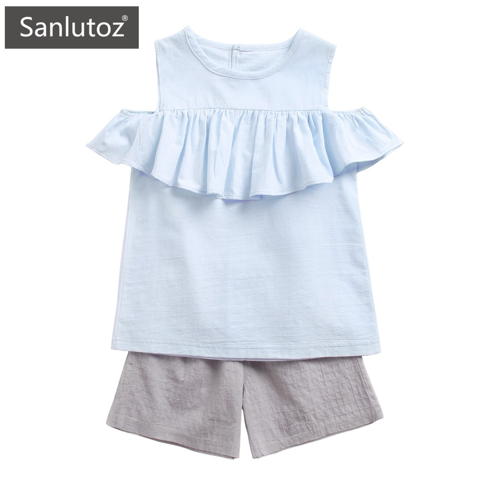 Sanlutoz 夏季女童T卹+純棉短褲两件套 时尚休闲儿童