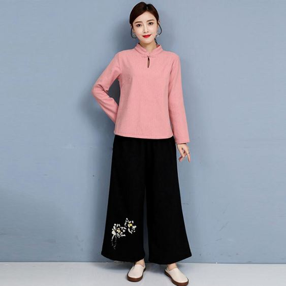 禪修服 居士服女佛系棉麻茶服禪意漢服禪修服中國風中式女裝復古唐裝套裝