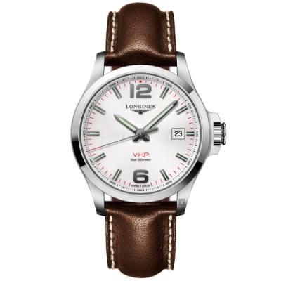 LONGINES浪琴 征服者系列V.H.P.萬年曆手錶-白x咖啡/43mm(L37264765)