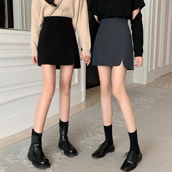 半身洋裝 半身裙秋冬女新款秋季包臀裙黑色高腰短裙不規則洋裝潮【快速出貨】