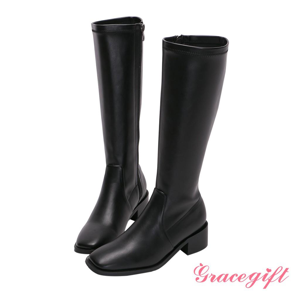 Grace gift-ETUDE leather shop-率性素面低跟長靴
