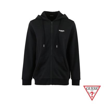 GUESS-女裝-純色前後字母LOGO連帽外套-黑 原價3990
