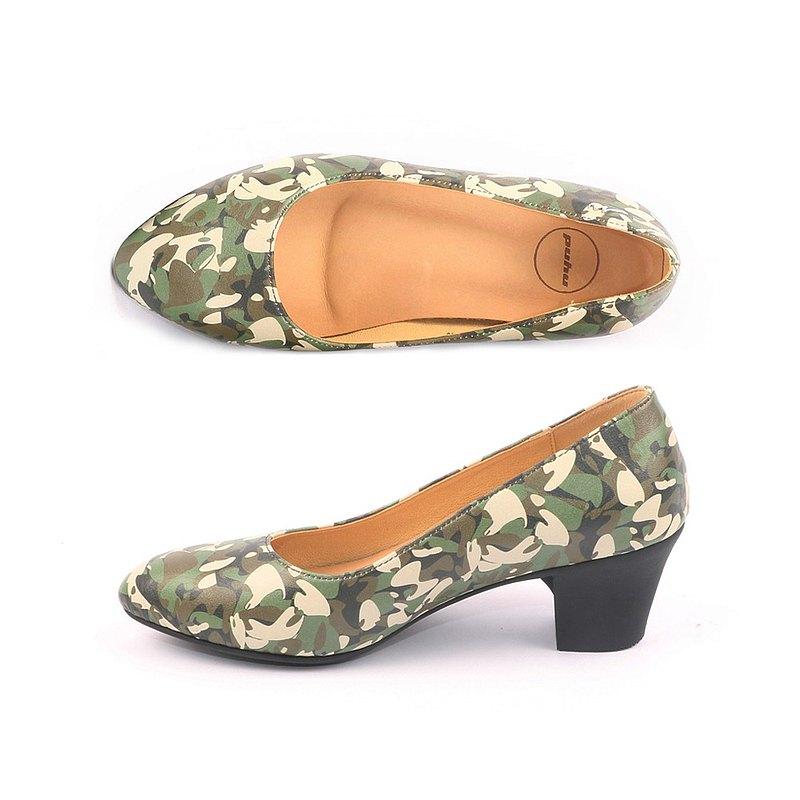 MIT【減壓穩足高跟鞋-綠】 中跟鞋 粗跟 防潑水 上班族 不脫膠