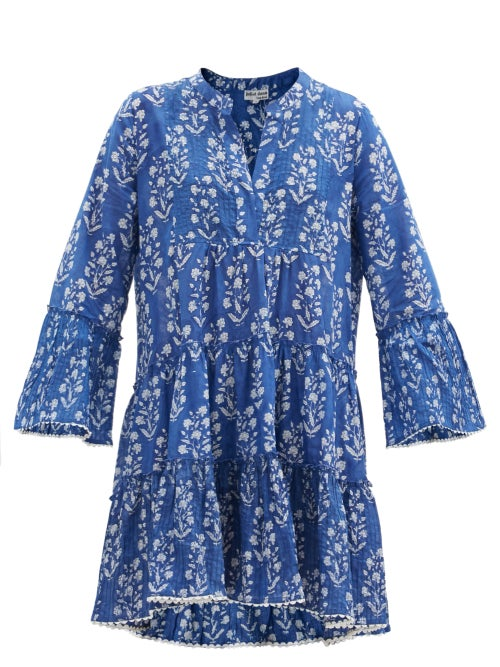 Juliet Dunn - Floral Block-print Cotton Mini Dress - Womens - Blue White