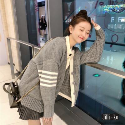 JILLI-KO 學院風不規則針織外套- 灰色