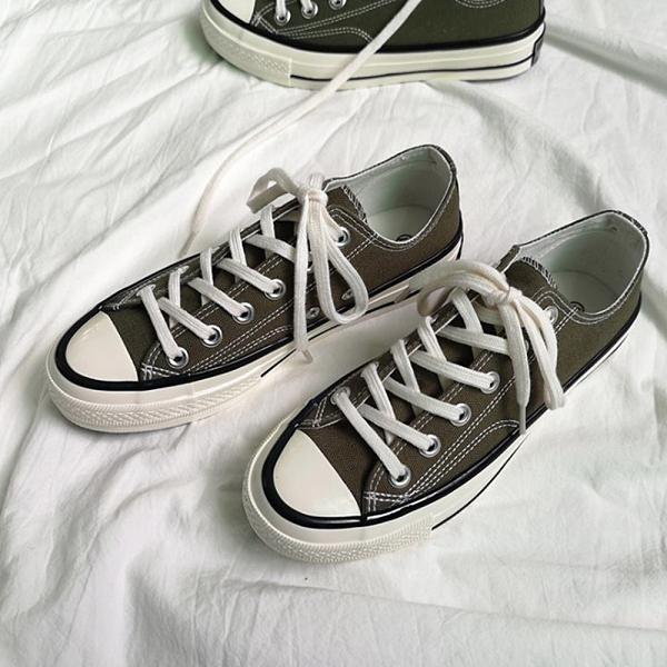 X-INGCHI 男女款基本款橄欖綠低筒帆布鞋-NO.X0258