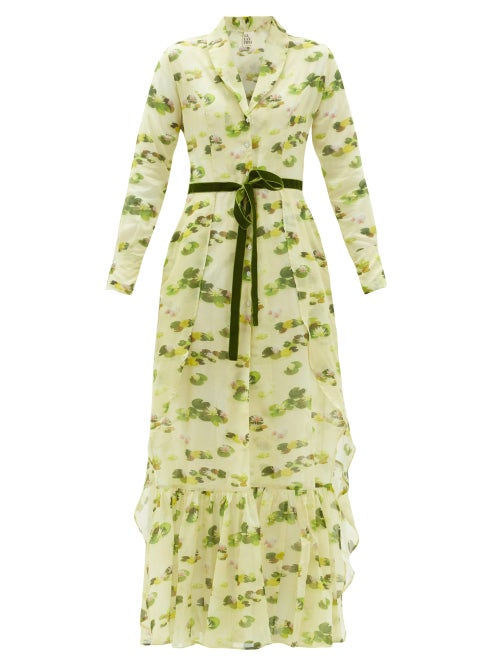 Galanthya - Artbo Waterlily-print Cotton Robe Dress - Womens - Yellow Print