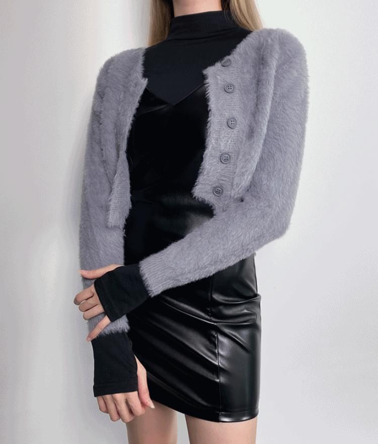 韓國空運 - 絨毛排扣開襟衫 針織外套