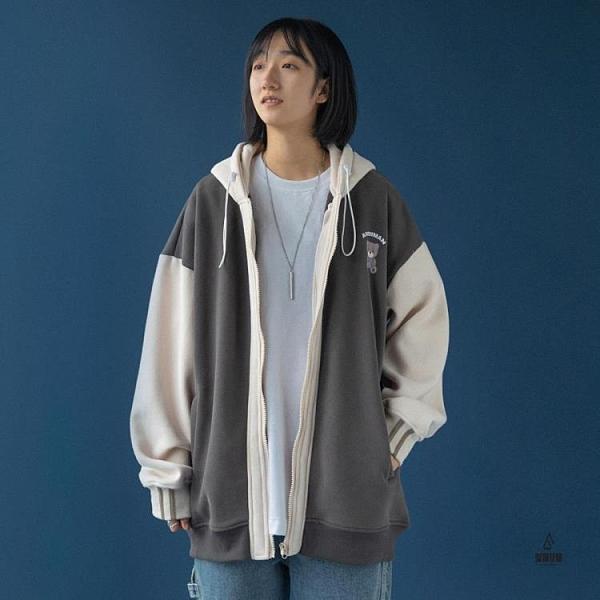 連帽日系外套假兩件開衫棒球服女秋冬寬鬆【愛物及屋】