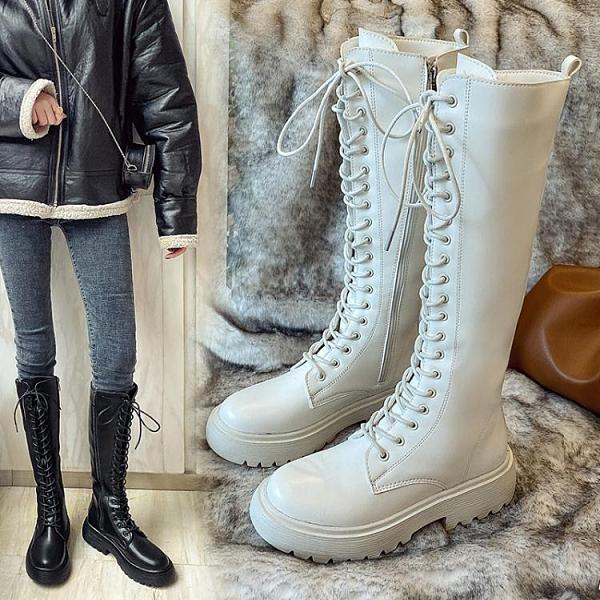 長靴女不過膝2020新款秋款百搭網紅顯瘦中筒靴長筒高筒加絨騎士靴 喜迎新春