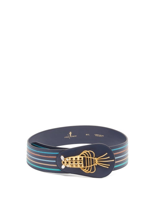 Sonia Petroff - Lobster Crystal-embellished Striped Leather Belt - Womens - Blue Multi