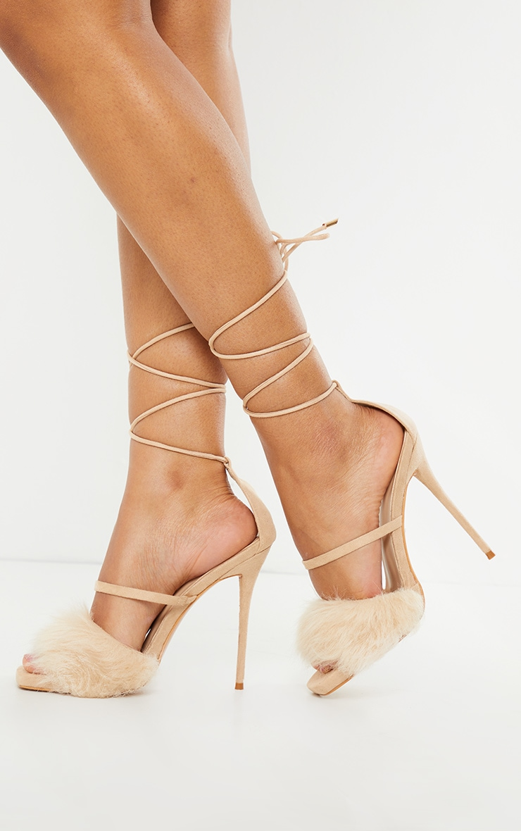 Nude Faux Fur Lace Up High Heels
