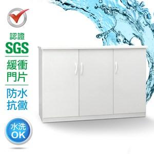IHouse-SGS 防潮抗蟲蛀緩衝塑鋼二層三門置物碗盤櫃白色