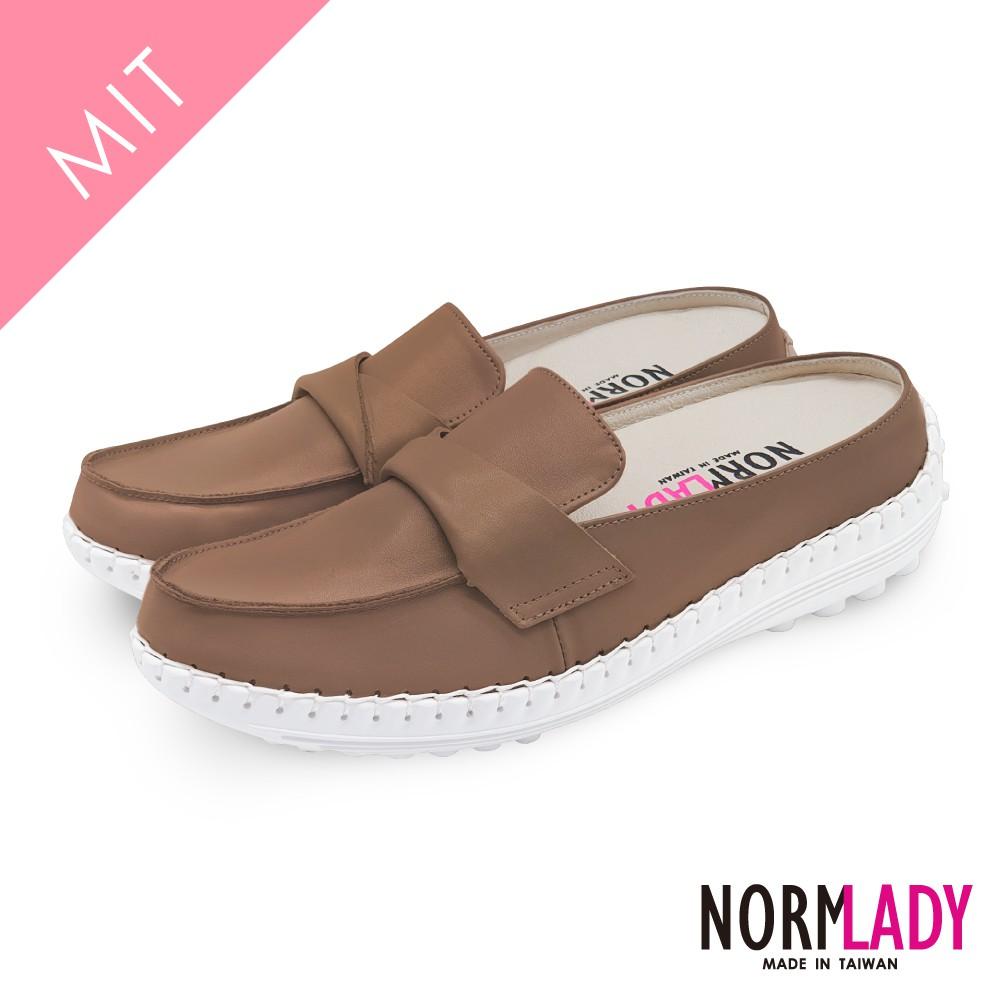 女鞋 穆勒鞋 張飛鞋 拖鞋 MIT台灣製 真皮鞋 翻轉蜜糖素面磁力厚底內增高氣墊球囊鞋(焦糖棕)—諾蕾蒂Normlady