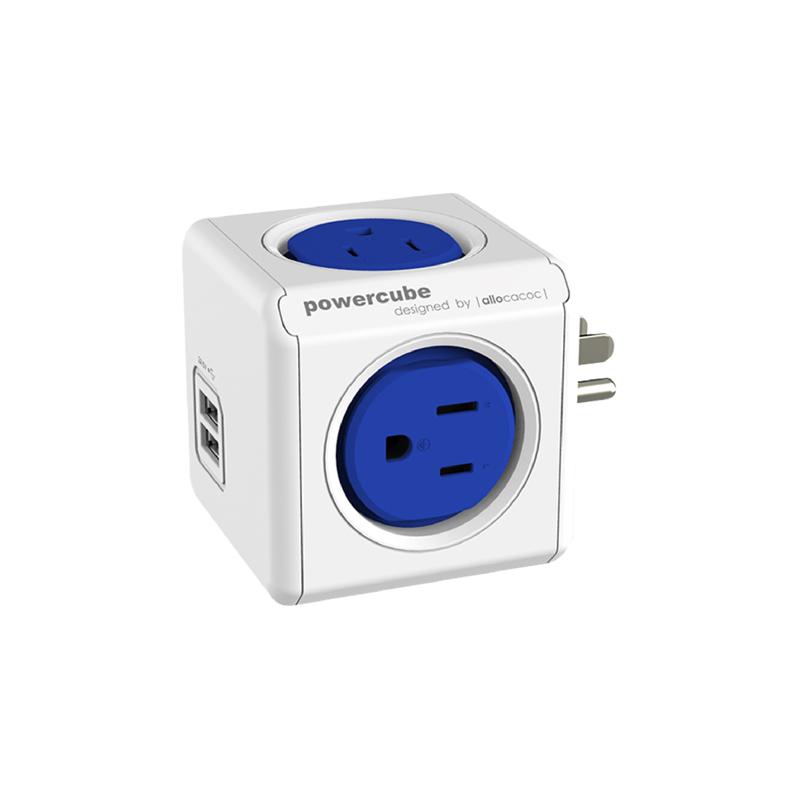 【allocacoc】PowerCube雙USB擴充插座/藍色