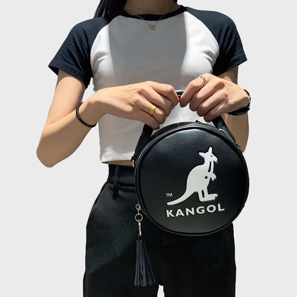 KANGOL 黑 女 圓型包 流蘇 復古 手提包 6055301120