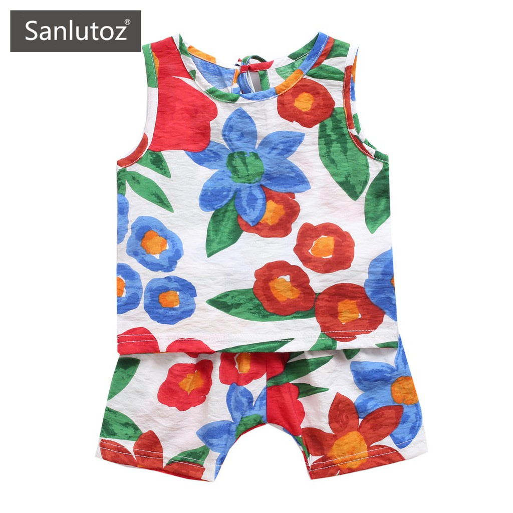 Sanlutoz 夏季女童背心+短褲套裝 時尚女寶寶夏裝