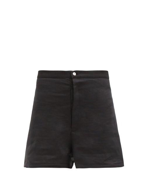 Albus Lumen - Raw-hem High-rise Linen Shorts - Womens - Black