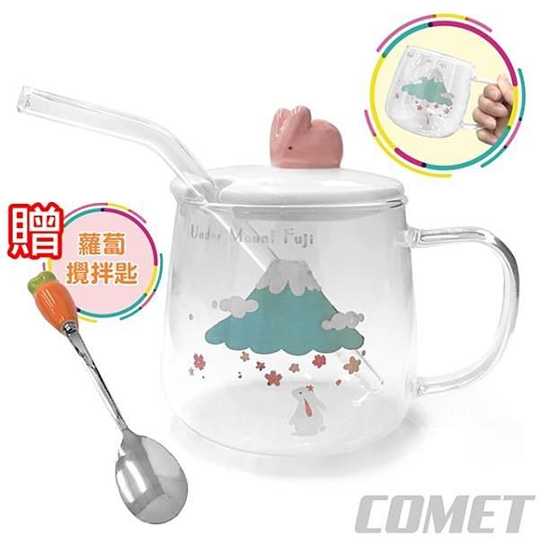 【南紡購物中心】【COMET】禮盒組兔子耐熱玻璃吸管杯(MMX-004)