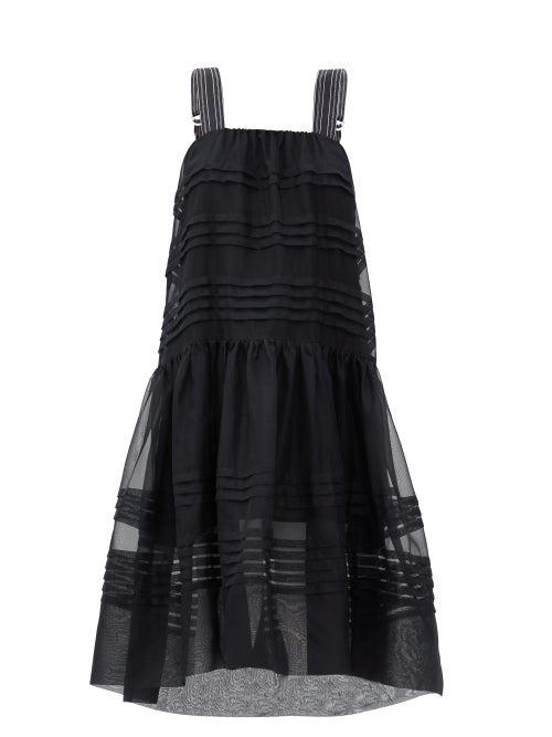 Lee Mathews - Andes Pintucked Silk-organza Dress - Womens - Black