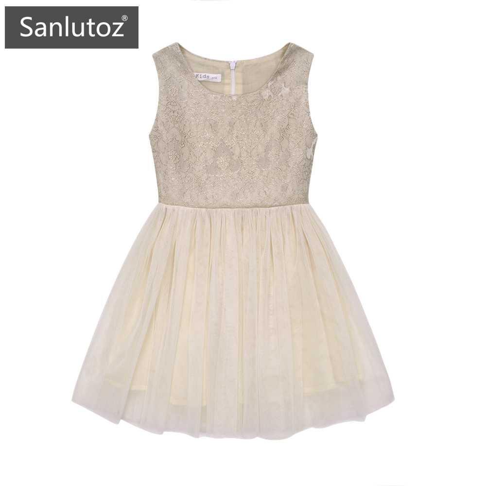Sanlutoz 女童無袖禮服蓬蓬連衣裙 時尚氣質百搭