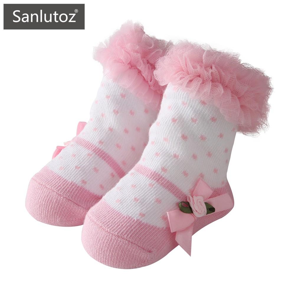 Sanlutoz 粉色寶寶公主襪 新生兒襪子 可當新生禮