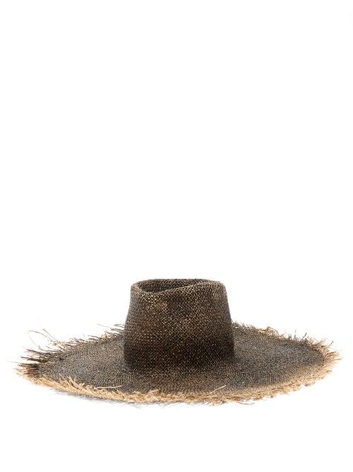 Reinhard Plank Hats - Big Nana Frayed Straw Hat - Womens - Black
