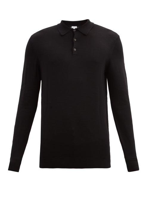 Sunspel - Merino-wool Long-sleeved Polo Shirt - Mens - Black