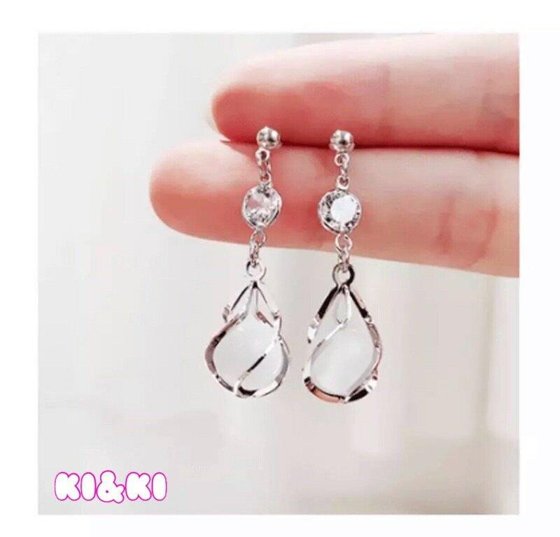 925銀針耳環 / 韓版氣質耳針 / 貓眼耳飾 / 女生水鑽耳墜