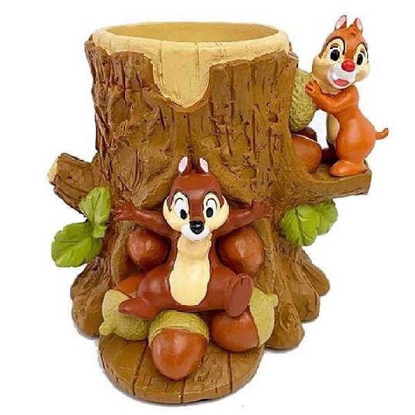 小禮堂 迪士尼 奇奇蒂蒂 造型陶瓷筆筒 圓形收納筒 刷具筒 文具盒 (棕 樹幹) 4945119-09819