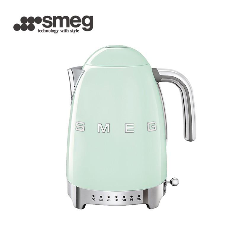 【SMEG】義大利控溫式大容量1.7L電熱水壺-粉綠色_KLF04PGUS