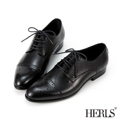 HERLS牛津鞋-全真皮橫飾雕花尖頭德比牛津鞋-黑色