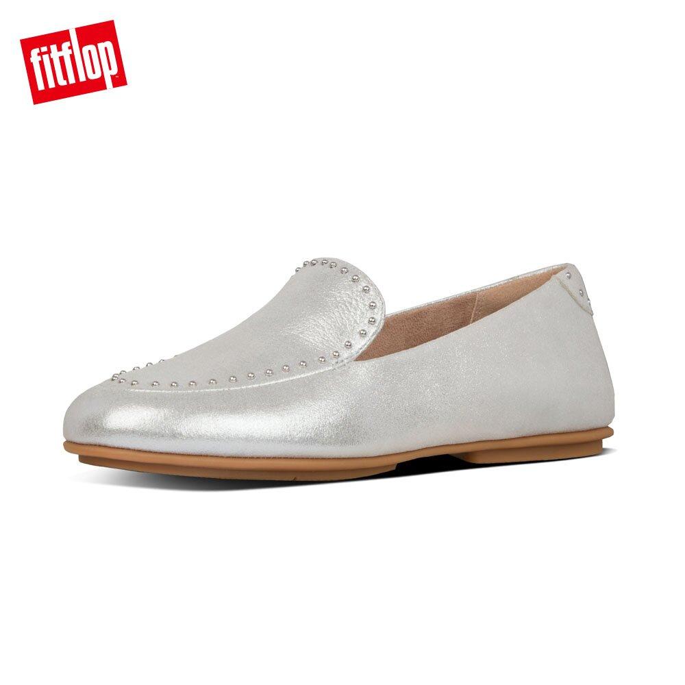 【FitFlop】LENA MICROSTUD LOAFERS 輕量時尚樂福鞋-女(銀色)