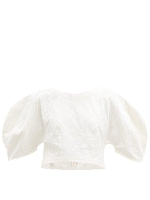 Mara Hoffman - Peni Organic Cotton-blend Jacquard Cropped Top - Womens - Ivory